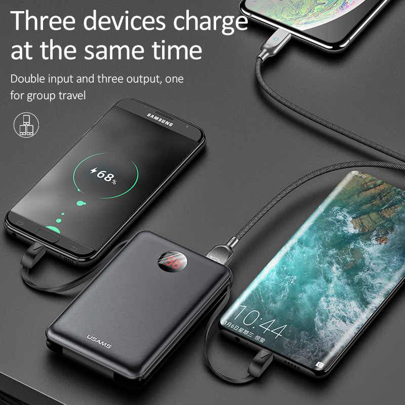 USAMS® 10000mAh QC 3.0 Mini Fast PowerBank with 3 Inbuilt Cable