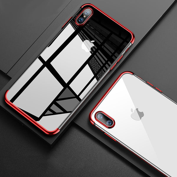 Luxury Laser Plating Utra Thin Transparent Hard Back Case Cover for Apple iPhone XS 2018