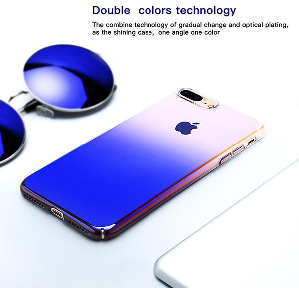 Luxury Blue Ray Laser Gradient Dual Color Hard Back Case Cover for Apple iPhone 7 Plus