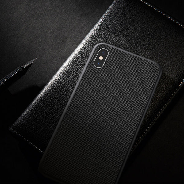 Luxury Nylon Knitted Finish Back Case with Soft TPU Armour Frame for Apple iPhone XS Max - BLACK