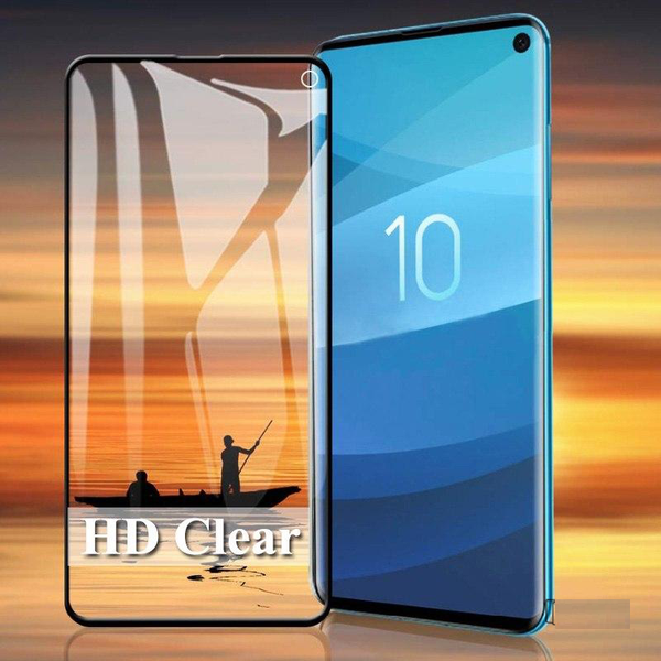 Premium Henks 5D Pro Full Cover Anti Shatter Tempered Glass Screen Protector for Samsung Galaxy S10 Plus - BLACK