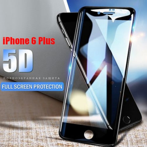 Premium Henks 5D Pro Full Screen Coverage Full Glue Curved Edges Anti Shatter Tempered Glass Screen Protector for Apple iPhone 6 Plus