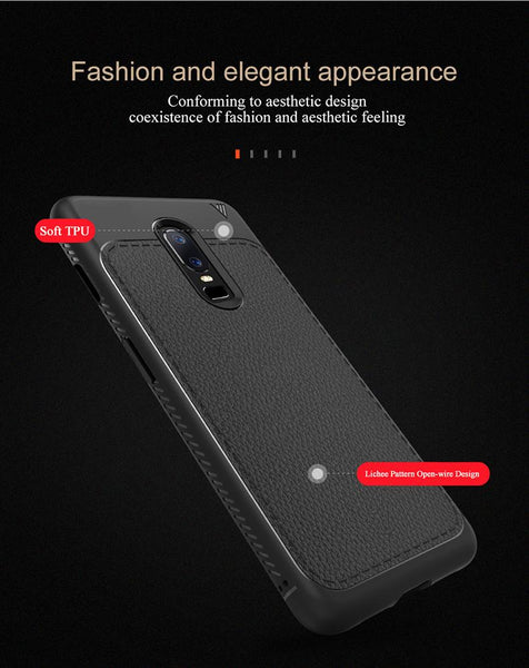 Premium Shockproof Litchi Leather Print TPU Back Case Cover for OnePlus 6 / One Plus 6 / 1+6