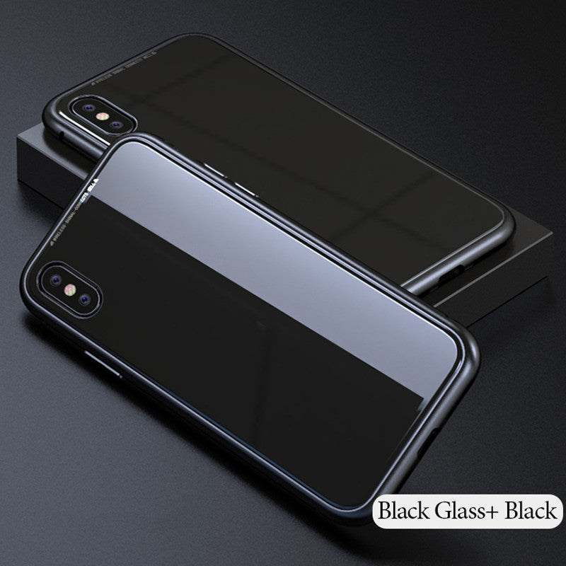 Luxury Magnetic Adsorption Metal Bumper Frame 9H Tempered Glass Back Case for Apple iPhone X