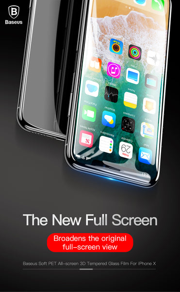 Baseus Full Screen Coverage Full Glue Curved Edge Anti Shatter 3D Tempered Glass Screen Protector for Apple iPhone X - BLACK