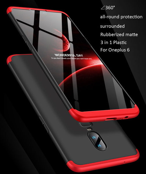 Premium Ultra Slim 3in1 360 Body Full Protection Hard Matte Front + Back Cover for OnePlus 6