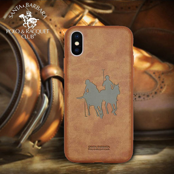 Luxury Santa Barbara Polo & Racquet Club Engraved Art Leather Back Case Cover for Apple iPhone XS Max