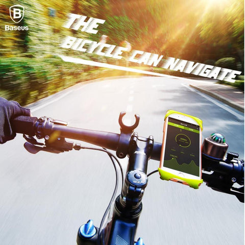 Baseus Adjustable Bicycle Handlebar Silicon Clip Bike Mount Phone Bracket for iPhone, Samsung, OnePlus [Compatible with Various Size Smartphones] - BLACK
