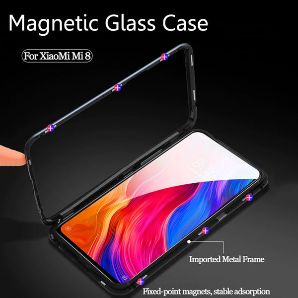 Luxury Magnetic Adsorption Metal Alloy Frame 9H Tempered Glass Back Case for Xiaomi Redmi Note 5 Pro