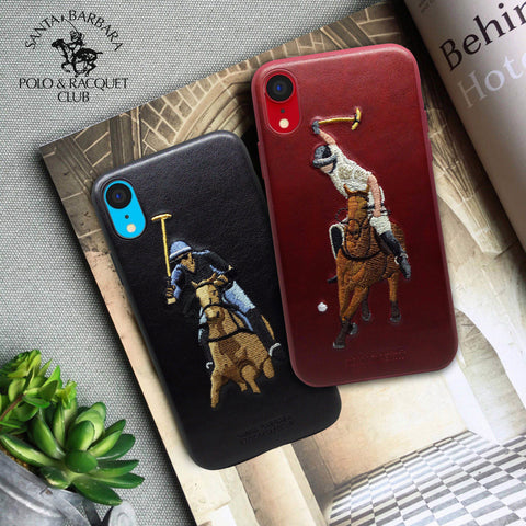 "Luxury Santa Barbara Polo & Racquet Club Vintage Jockey Leather Back Case Cover for Apple iPhone XR (6.1"")"