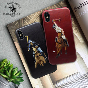 Luxury Santa Barbara Polo & Racquet Club Vintage Leather Back Case Cover for Apple iPhone XS Max