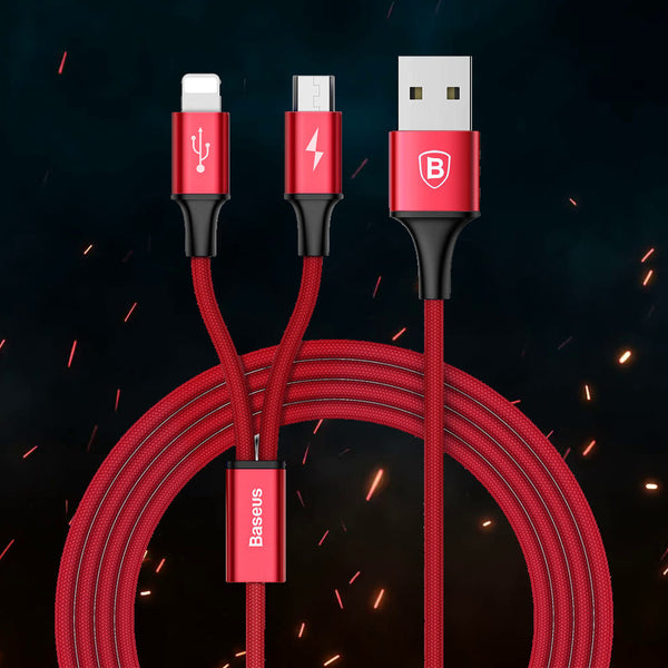 Baseus Fast Charging 2-in-1 Cable for High Speed Data Transmission USB Cable for Lightning Connector Apple & Micro USB Android Smartphones - RED