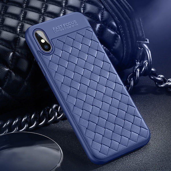 Premium Classic Soft Silicone Ultra Slim Breathable Weaving Back Case Cover for Apple iPhone XS 2018
