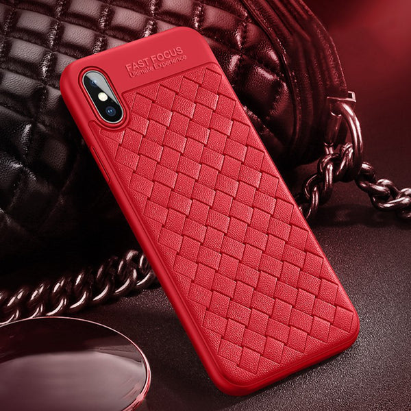 Premium Classic Soft Silicone Ultra Slim Breathable Weaving Back Case Cover for Apple iPhone X