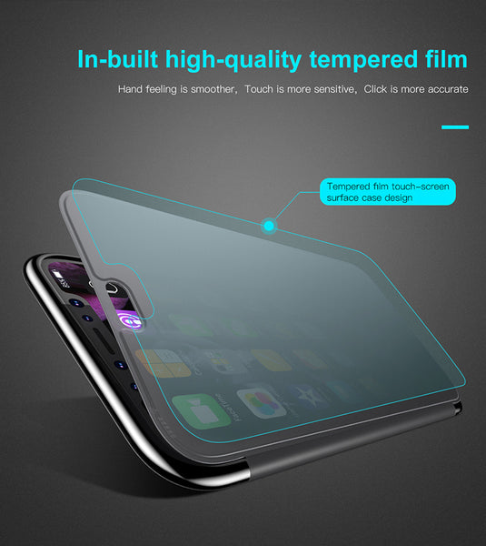 Premium Smart View 360 Full Body Protection Touchable Flip Case Cover for Apple iPhone XS 2018