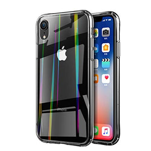 Premium Rainbow Aurora Transparent Tempered Glass Case Hard Shell Back Case for Apple iPhone XR