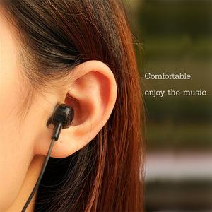 USAMS EP-12 In-ear Waterproof Wired Control Electroplated Earphone Headphone With Mic - Black