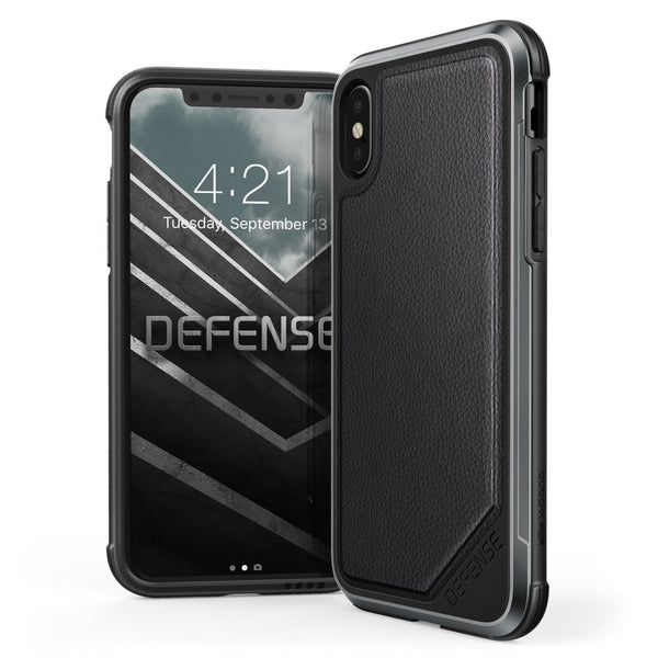 Luxury Anti Knock X-Doria Defense Lux Series Leather Back Case Cover for Apple iPhone XS 2018 - Black
