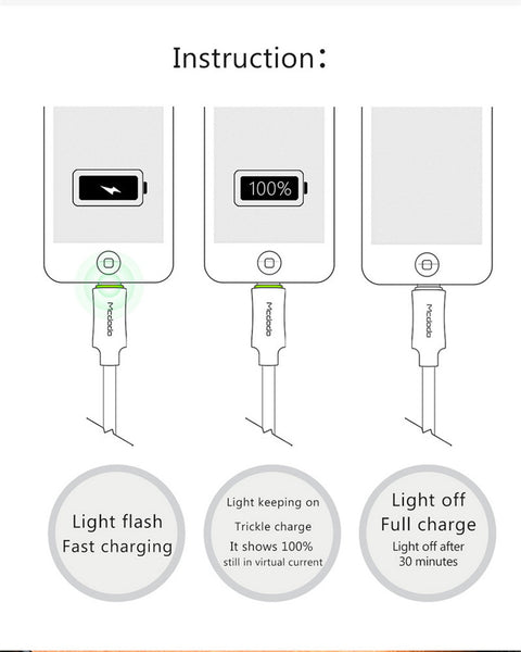 McDodo LED Light Auto Disconnect Fast Fast Charging USB Data Sync Lightning Cable for Apple iPhone X, 8/8 Plus, 7/7 Plus, 6/6S/6 Plus, 5/5S/5C/SE - BLACK