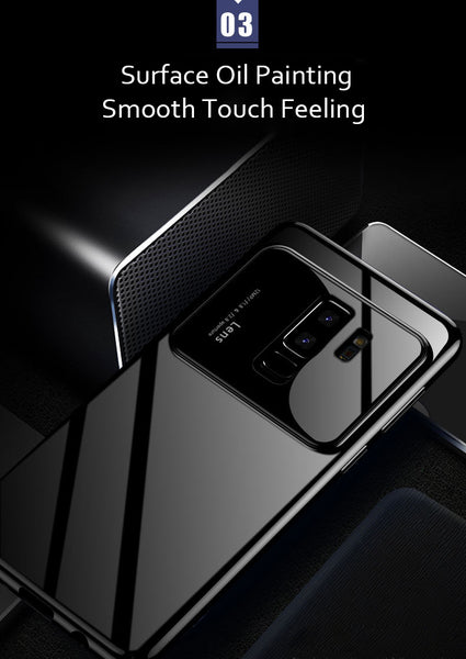 Luxury Smooth Mirror Camera Lens Anti Scratch Back Case Cover for Samsung Galaxy S9 Plus