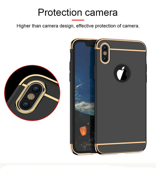 Luxury Ultra Slim 3in1 Gold Electroplating Hard Back Case Cover for Apple iPhone X