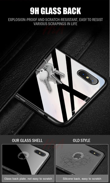 Luxury 9H Hardness Tempered Glass Back Cover Case for Apple iPhone X