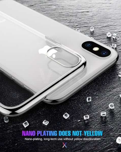 Luxury Laser Plating Precision Thin Clear Hard Back Case for Apple iPhone XS MAX
