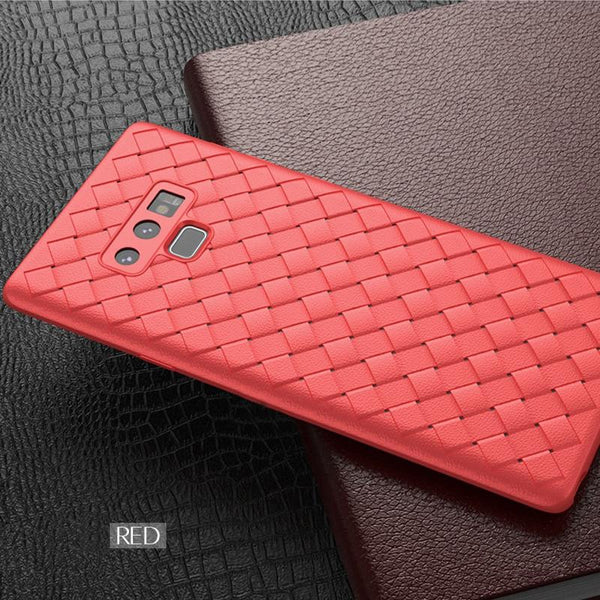 Premium Weaving Grid Breathable Soft Silicone Back Case Cover for Samsung Galaxy Note 9