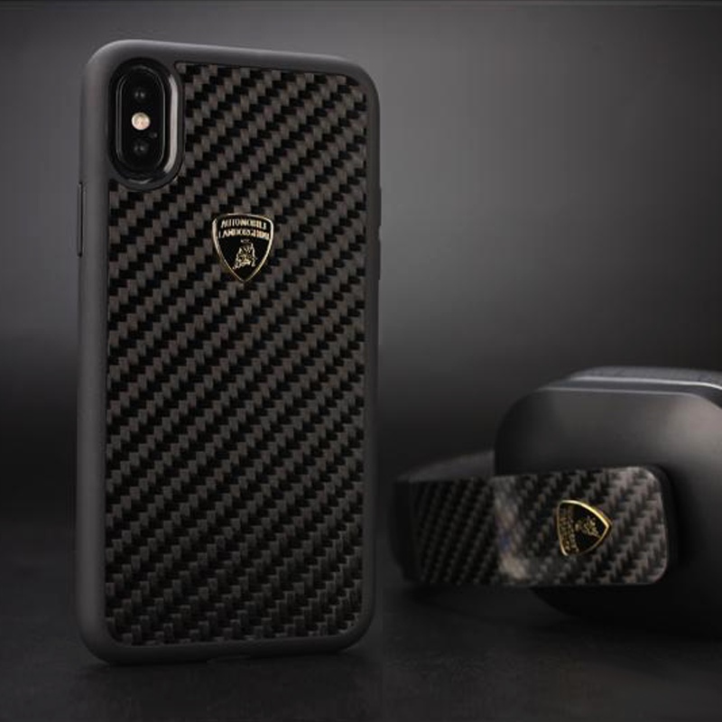 Official Lamborghini Shockproof Genuine Carbon Fiber Protection Back Case Cover for Apple iPhone X / XS- BLACK