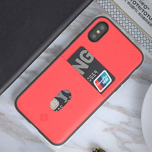 Luxury Anti Knock Leather Back Case with Soft TPU Bumper & Credit Card Holder Back Cover for Apple iPhone X