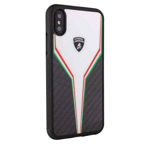 Luxury Automobili Lamborghini Genuine Carbon Fiber Anti Knock Back Case Cover for Apple iPhone X / XS