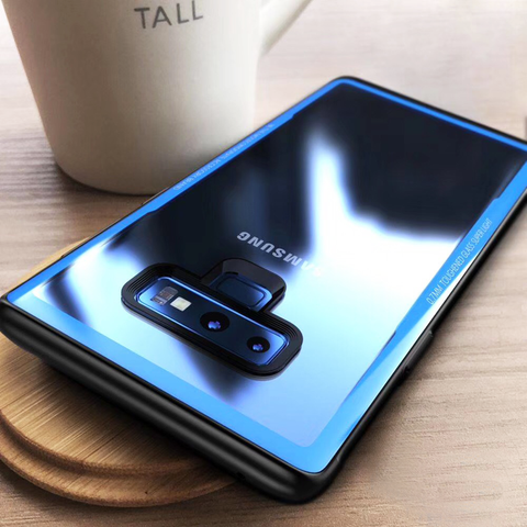 Luxury 9H Hardness Clear Tempered Glass Back Case Cover with Soft TPU Edges for Samsung Galaxy Note 9