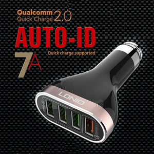 LDNIO 4 USB Port 5V / 6.6A Quick Charge 2.0 Metal Apply To AUTO-ID System Fast Car Charger for iPhone, Samsung - BLACK