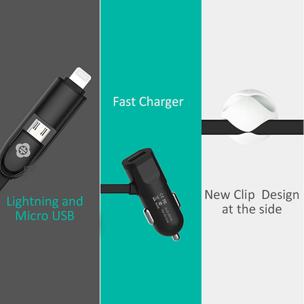 Totu Design 2 in 1 Universal 3.4A Quick Charger with Built-in Lightning Cable for iPhone or Android Smartphone - BLACK