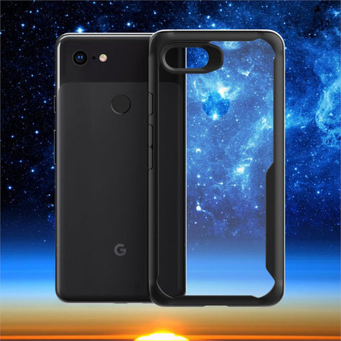 Premium Eagle Series Shockproof Clear Hard Back Case for Google Pixel 3XL - Black