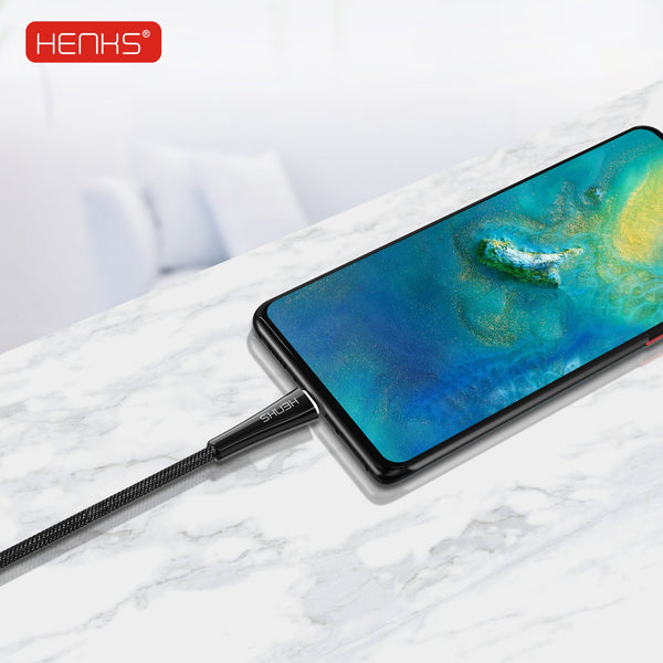 HENKS QC 3.0 Certified Zinc Alloy Smart Fast Charging & Data Sync Cable for all Samsung, OnePlus, Oppo, Vivo, Xiaomi Type C Mobiles