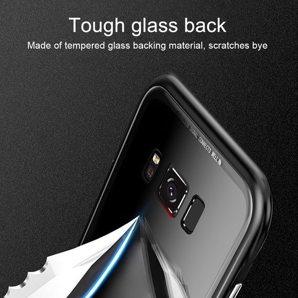 Luxury Magnetic Adsorption Metal Bumper Frame 9H Tempered Glass Back Case for Samsung Galaxy S8