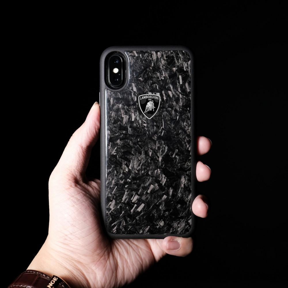 Luxury Automobili Lamborghini Marble Finish Glossy Surface Hard Back Case Cover for Apple iPhone X / XS - BLACK