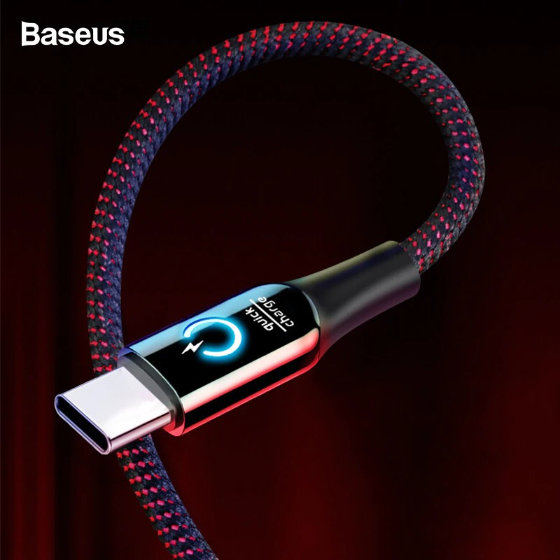 Baseus LED Lighting Auto Disconnect 2.4A Fast Charging Type C Cable Cable Data Cord for Samsung, OnePlus, Motorola, Xiaomi