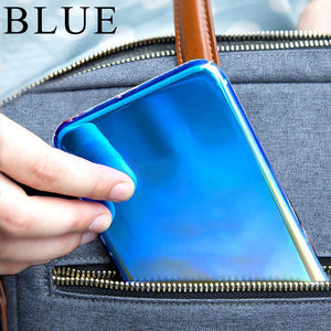 Luxury Blue Ray Laser Gradient Dual Color Hard Back Case Cover for Apple iPhone XS 2018