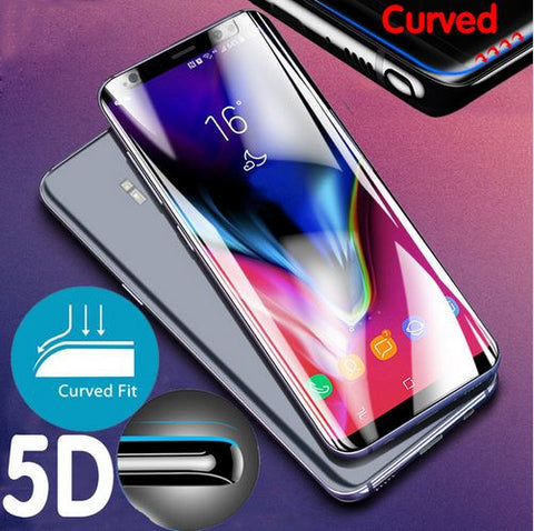 Premium Henks 5D Pro Full Screen Coverage Full Glue Curved Edges Anti Shatter Tempered Glass Screen Protector for Samsung Galaxy S9 - BLACK