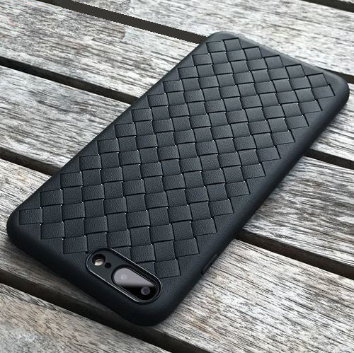 Premium Weaving Grid Breathable Soft Silicone Back Case Cover for Apple iPhone 7 Plus - BLACK