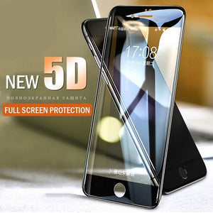 Premium Henks 5D Pro Full Screen Coverage Full Glue Curved Edges Anti Shatter Tempered Glass Screen Protector for Apple iPhone 6 / 6S - BLACK