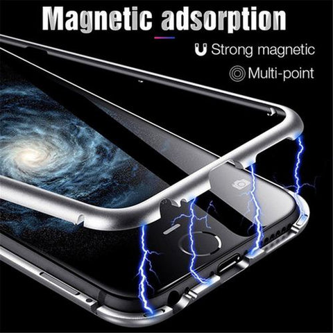 Luxury Magnetic Adsorption Metal Bumper Frame 9H Tempered Glass Back Case for Samsung Galaxy S8 Plus