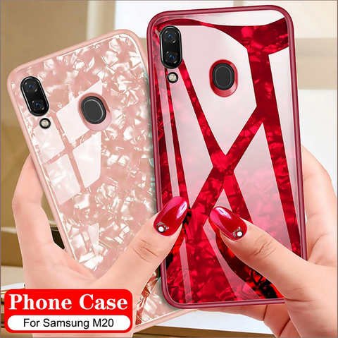 Luxury Explosion Proof Marble Pattern Tempered Glass Hard Back Case Cover for Samsung Galaxy M20