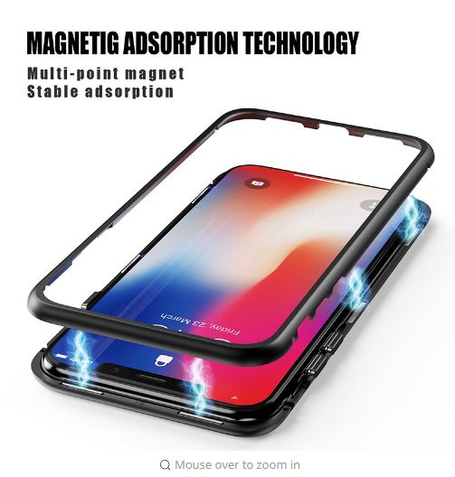 Luxury Magnetic Adsorption Metal Bumper Frame 9H Tempered Glass Back Case for Apple iPhone 7