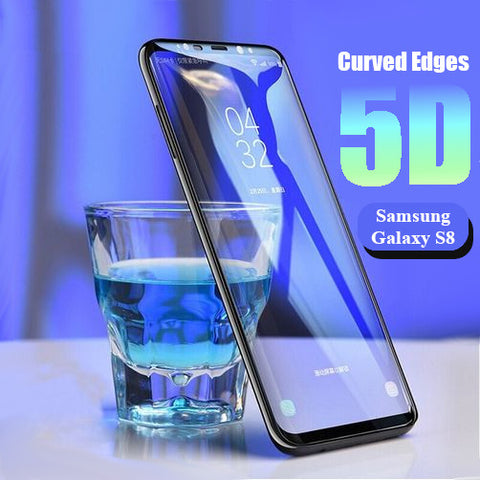 Premium Henks 5D Pro Full Screen Coverage Full Glue Curved Edges Anti Shatter Tempered Glass Screen Protector for Samsung Galaxy S8 - BLACK