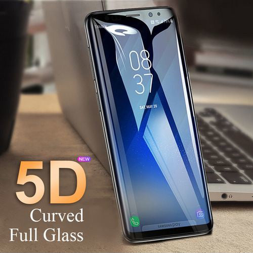 Premium Henks 5D Pro Full Screen Coverage Full Glue Curved Edges Anti Shatter Tempered Glass Screen Protector for Samsung Galaxy S9 Plus - BLACK
