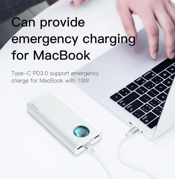 Baseus® Mulight QC 3.0 18Watt PD 20000mAh PowerBank with LED Display & MacBook Charging