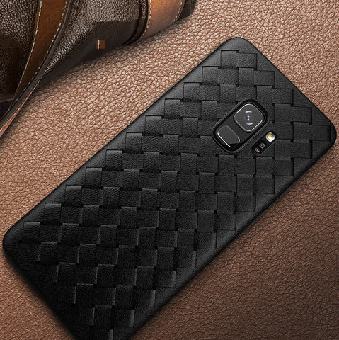 Premium Weaving Grid Breathable Soft Silicone Back Case Cover for Samsung Galaxy S9